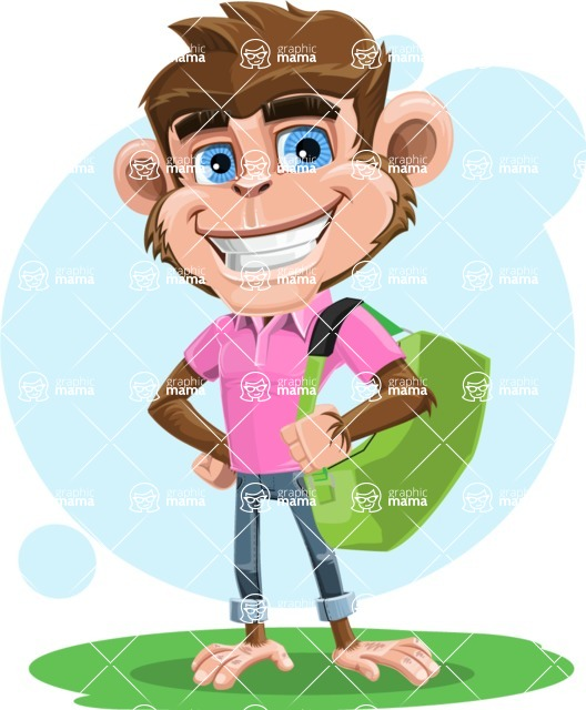 Ape Cartoon Vector Character AKA Dunc the Funky Monkey - Shape 6