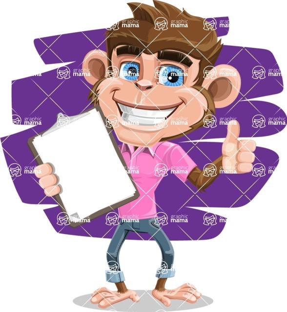 Ape Cartoon Vector Character AKA Dunc the Funky Monkey - Shape 7