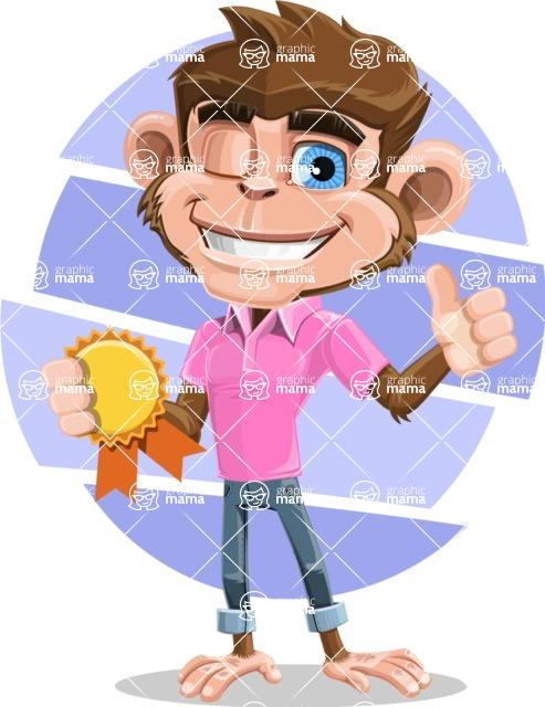 Ape Cartoon Vector Character AKA Dunc the Funky Monkey - Shape 9