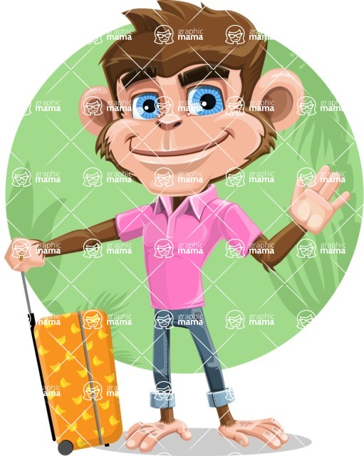 Ape Cartoon Vector Character AKA Dunc the Funky Monkey - Shape 12