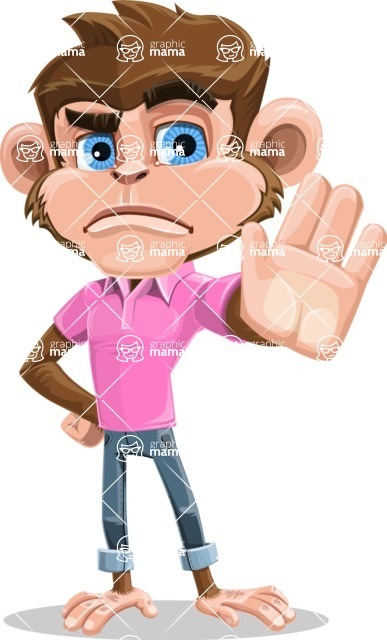 Ape Cartoon Vector Character AKA Dunc the Funky Monkey - Stop 2