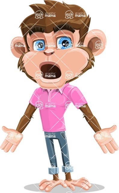 Ape Cartoon Vector Character AKA Dunc the Funky Monkey - Stunned