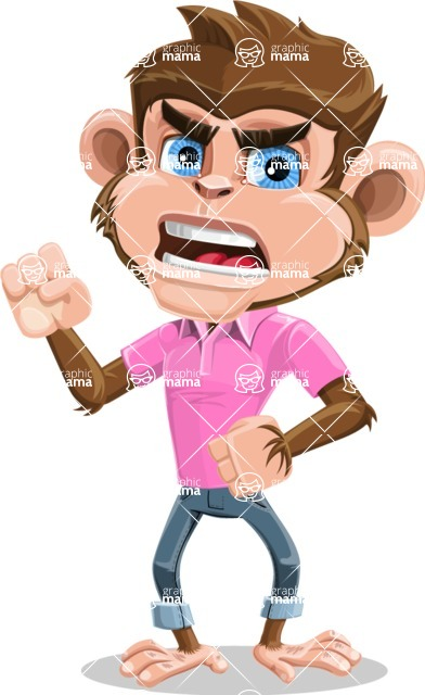 Ape Cartoon Vector Character AKA Dunc the Funky Monkey - Angry