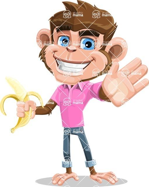 Ape Cartoon Vector Character AKA Dunc the Funky Monkey - Hello