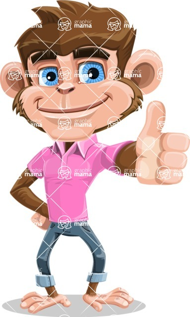 Ape Cartoon Vector Character AKA Dunc the Funky Monkey - Thumbs Up