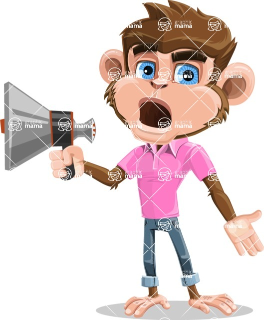Ape Cartoon Vector Character AKA Dunc the Funky Monkey - Loudspeaker