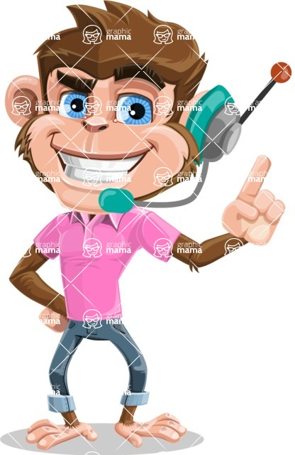 Ape Cartoon Vector Character AKA Dunc the Funky Monkey - Support 2
