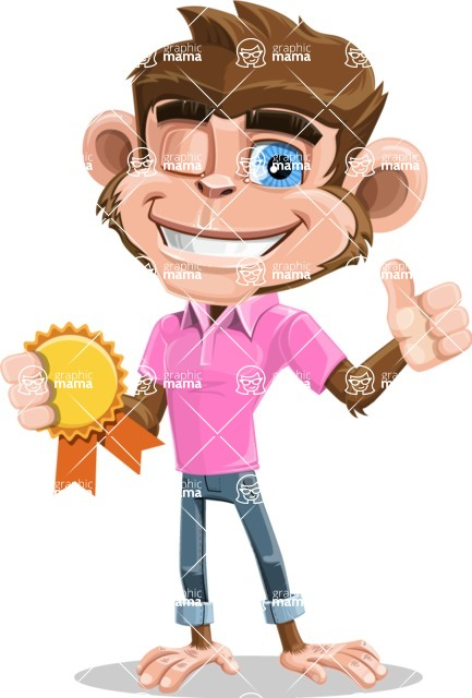 Ape Cartoon Vector Character AKA Dunc the Funky Monkey - Ribbon