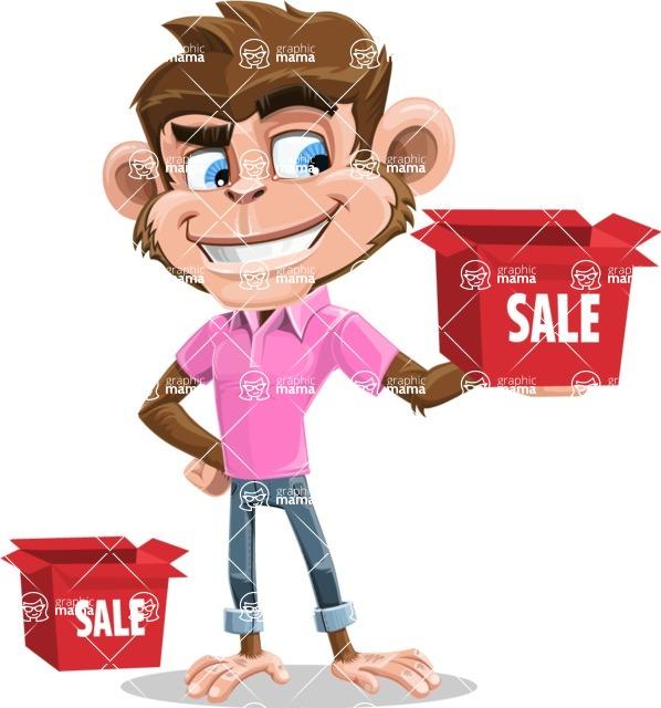 Ape Cartoon Vector Character AKA Dunc the Funky Monkey - Sale