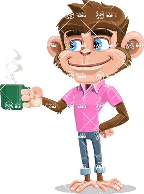 Ape Cartoon Vector Character AKA Dunc the Funky Monkey - Coffee