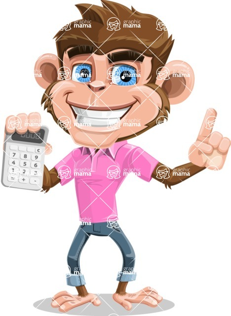 Ape Cartoon Vector Character AKA Dunc the Funky Monkey - Calculator