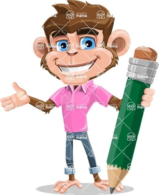 Ape Cartoon Vector Character AKA Dunc the Funky Monkey - Pencil