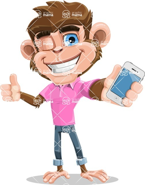 Ape Cartoon Vector Character AKA Dunc the Funky Monkey - iPhone