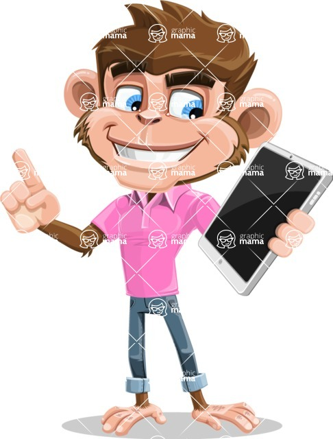 Ape Cartoon Vector Character AKA Dunc the Funky Monkey - iPad 3