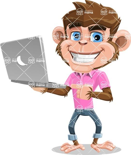 Ape Cartoon Vector Character AKA Dunc the Funky Monkey - Laptop 1