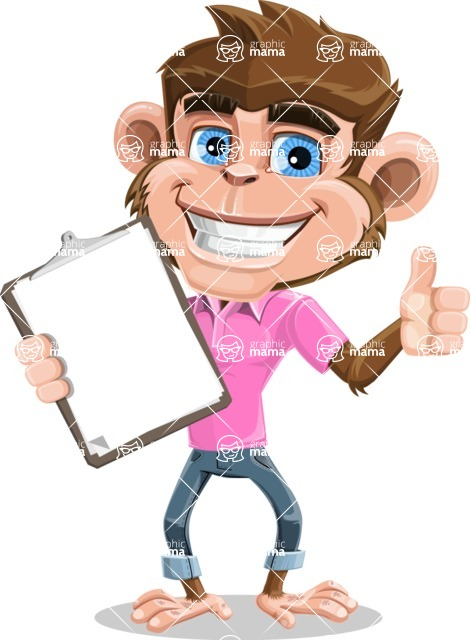 Ape Cartoon Vector Character AKA Dunc the Funky Monkey - Notepad 1