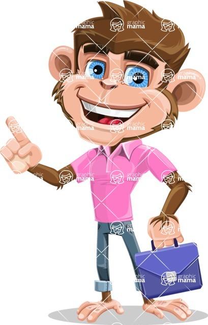 Ape Cartoon Vector Character AKA Dunc the Funky Monkey - Briefcase 2