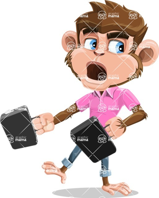 Ape Cartoon Vector Character AKA Dunc the Funky Monkey - Briefcase 3