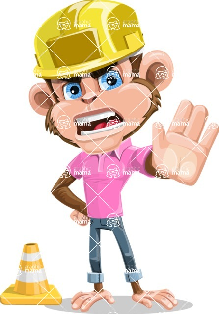 Ape Cartoon Vector Character AKA Dunc the Funky Monkey - Under Construction 1