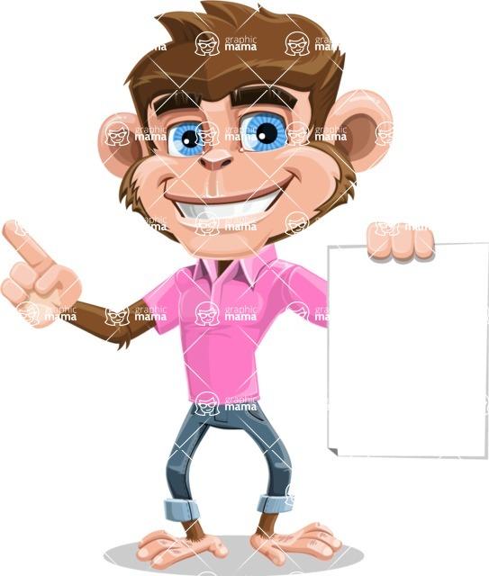 Ape Cartoon Vector Character AKA Dunc the Funky Monkey - Sign 2