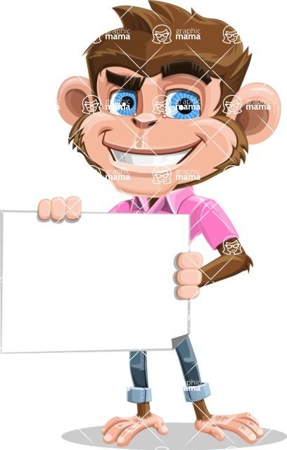 Ape Cartoon Vector Character AKA Dunc the Funky Monkey - Sign 3