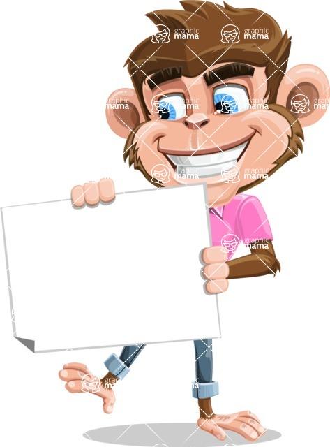 Ape Cartoon Vector Character AKA Dunc the Funky Monkey - Sign 4