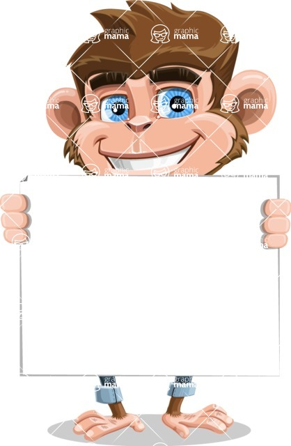 Ape Cartoon Vector Character AKA Dunc the Funky Monkey - Sign 5