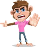 Ape Cartoon Vector Character AKA Dunc the Funky Monkey - Direct Attention