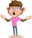 Ape Cartoon Vector Character AKA Dunc the Funky Monkey - Shocked