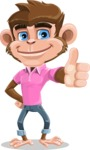 Ape Cartoon Vector Character AKA Dunc the Funky Monkey - Thumbs Up