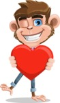 Ape Cartoon Vector Character AKA Dunc the Funky Monkey - Love