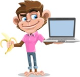 Ape Cartoon Vector Character AKA Dunc the Funky Monkey - Laptop 3