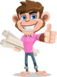 Ape Cartoon Vector Character AKA Dunc the Funky Monkey - Plans