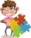 Ape Cartoon Vector Character AKA Dunc the Funky Monkey - Puzzle