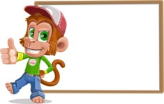 Cute Chimpanzee Monkey Vector Cartoon Character AKA Bo Nobo - Presentation 5