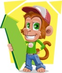 Cute Chimpanzee Monkey Vector Cartoon Character AKA Bo Nobo - Shape 5