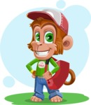 Cute Chimpanzee Monkey Vector Cartoon Character AKA Bo Nobo - Shape 6