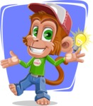 Cute Chimpanzee Monkey Vector Cartoon Character AKA Bo Nobo - Shape 8