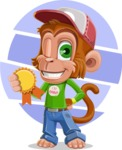 Cute Chimpanzee Monkey Vector Cartoon Character AKA Bo Nobo - Shape 9