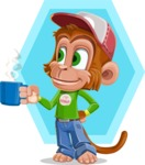 Cute Chimpanzee Monkey Vector Cartoon Character AKA Bo Nobo - Shape 12