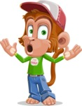Cute Chimpanzee Monkey Vector Cartoon Character AKA Bo Nobo - Shocked
