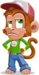 Cute Chimpanzee Monkey Vector Cartoon Character AKA Bo Nobo - Roll Eyes