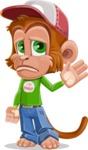 Cute Chimpanzee Monkey Vector Cartoon Character AKA Bo Nobo - Goodbye