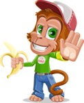 Cute Chimpanzee Monkey Vector Cartoon Character AKA Bo Nobo - Hello