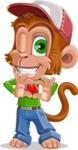 Cute Chimpanzee Monkey Vector Cartoon Character AKA Bo Nobo - Show Love