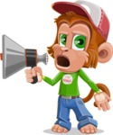 Cute Chimpanzee Monkey Vector Cartoon Character AKA Bo Nobo - Loudspeaker