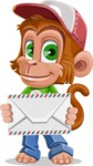 Cute Chimpanzee Monkey Vector Cartoon Character AKA Bo Nobo - Letter