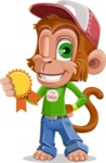 Cute Chimpanzee Monkey Vector Cartoon Character AKA Bo Nobo - Ribbon