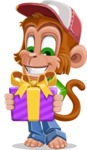 Cute Chimpanzee Monkey Vector Cartoon Character AKA Bo Nobo - Gift