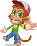 Cute Chimpanzee Monkey Vector Cartoon Character AKA Bo Nobo - Wave